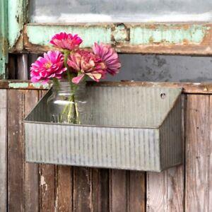 New Primitive Farmhouse Chic Metal Feed Trough Wall Basket Box Shelf Bin