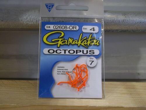Gamakatsu Octopus hooks size 4 orange 7 count #02608-OR