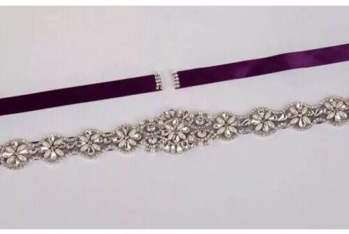 Bridal Wedding Bridesmaids Dress Rhinestone Crystal Pearl Sash Ivory Ribbon Belt
