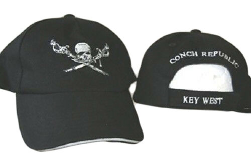 Embroidered Key West Jolly Roger Pirate Brethren Conch Republic Hat Cap