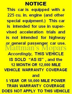 MOPAR ENGINE SIZE DECALS 225+4 SLANT SIX DART HYPER PAK