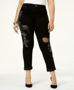 INC-International-Concepts-Plus-Women-18W-Cotton-Floral-Black-Slim-Taper-Jeans