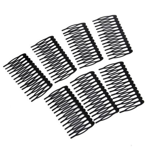 10 Black Metal Plain Hair Slide Grip Side Comb Hairclip Hair Accessory 7.5cm