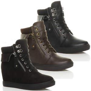 best sneakers e37b9 b722d Cheville Compensé Bottine Femmes Bottes De Talon Lacets Cach