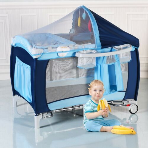 Folding Home Travel Baby Crib Playpen with Mosquito Net and Bag Blue/Pink US
