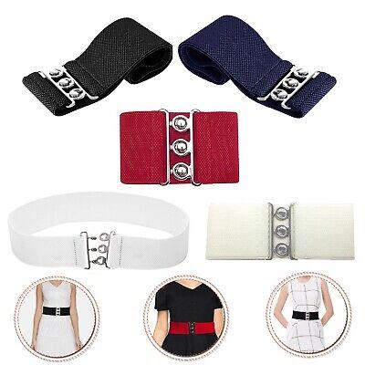 76mm Wide Elastic Stretch Belt Three Silver Hooks Girls Charm Fashion Waistband
