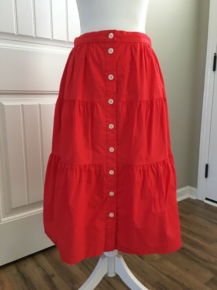 New Madewell Bistro Midi Skirt in True Red Sz Xl G5306