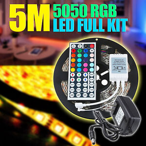 5M-RGB-5050-Waterproof-RGB-LED-Strip-light-SMD-44-Key-Remote-12V-Power-Full-Kit