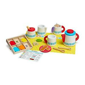 Melissa Doug 22 Piece Steep And Serve Wooden Tea Set Play Food Kitchen Toys