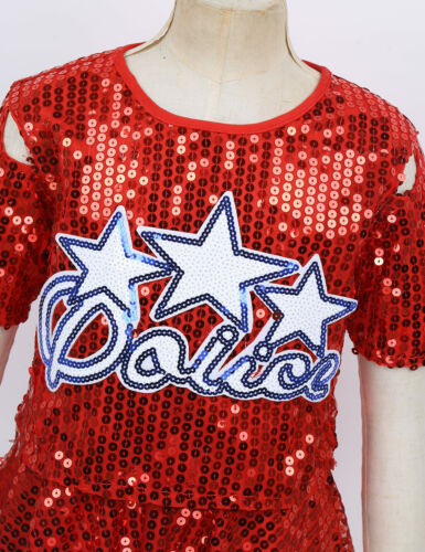 Details about  /Kids Girls Sparkly Cheerleader Costume School Uniform Cheerleading Dancewear Set
