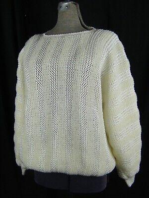 2019 Moda Ted Lapidus Vintage Anni 80 Crema Testurizzato Crochet Maglia Oversize