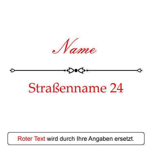 Gravur Motiv Familienname mit Straße und Hausnummer Acryltafel Türschild inkl