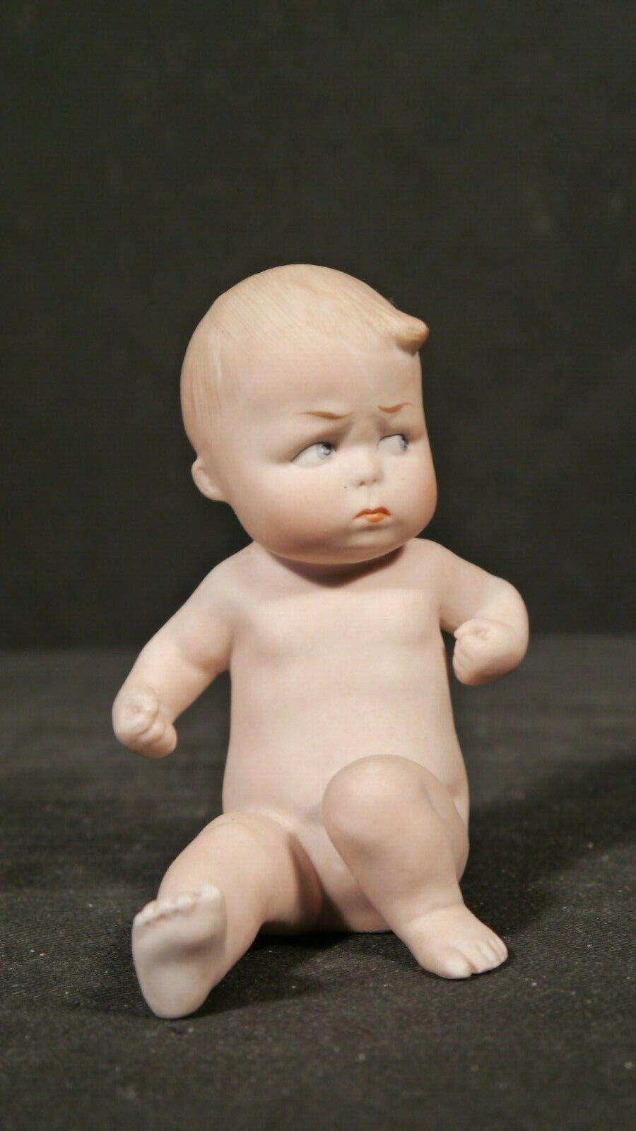Antique German Heubach Porcelain Bisque Piano Baby NUDE Naughty Boy  2