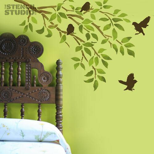 Gorriones y sucursal Reutilizable Hogar Decoración Pared stencil la plantilla Studio 10219XL