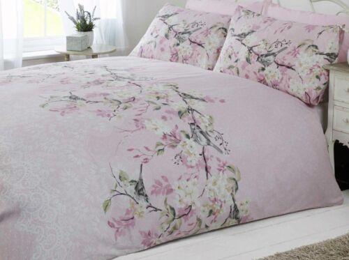 bird blossom floral duvet quilt cover bedding set grey pink /& duck egg blue