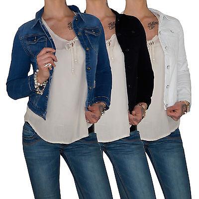 Hell Damen Jeansjacke Denim Stretch Jeans Jacke Jacket Übergangsjacke Bolero E97