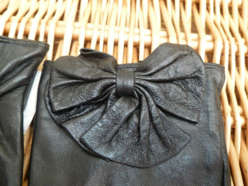 F /& F LUXURIOUS REAL LEATHER BOW DETAIL GLOVES BLACK DARK RED BROWN S M L BNWT
