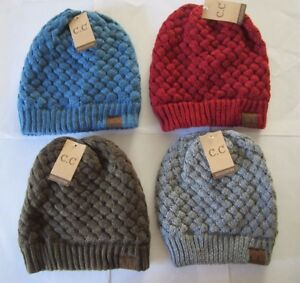 Image is loading CC-Beanie-exclusives-Women-Thick-Knit-double-layered- 80fb150b0262