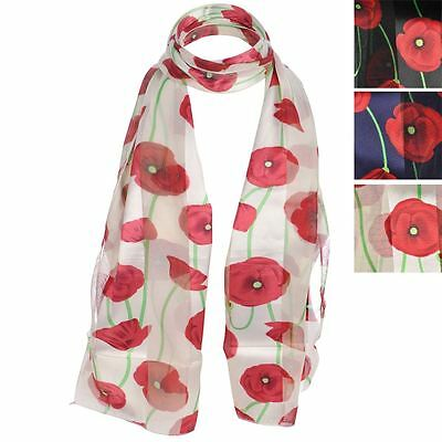 Poppy Print Floral Ladies Scarf Wrap Sarong Long Soft Warm Remembrance Day