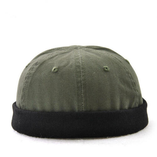 Men Plus Size Hats Retro Solid Brimless Hat Adjustable Warm Skullcap Sailor Cap