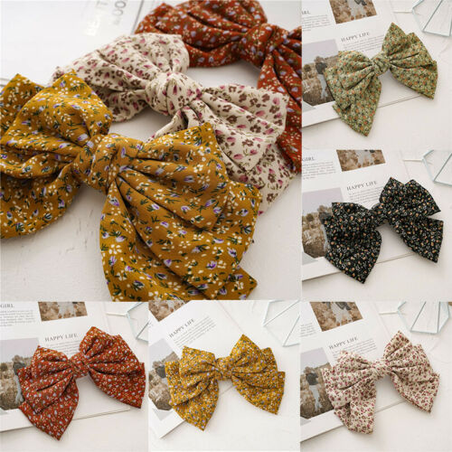 Big Bow Barrette Small Floral Satin Hairpin Hair Accessories Ponytail Hair Clip