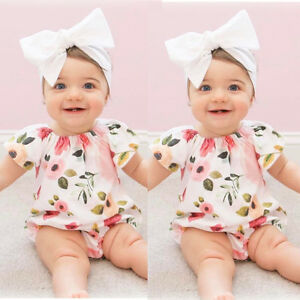 cbc355c75f10 Newborn Infant Baby Girl Short Sleeve Hot Floral Jumpsuit Romper ...
