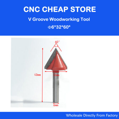 2pcs 3D Wood Making CNC Router Engraving V Groove End Mil Bits 6mm x 32mm x 60°