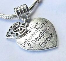 MOM MOTHER Pendant or European Charm LOVE BETWEEN MOTHER DAUGHTER + CHAIN & BAG