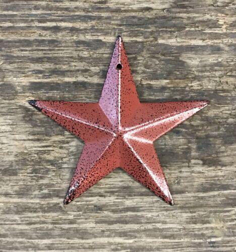 "Tin Metal Americana 3.5/"" Burgundy Country Barn Star"