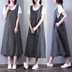 UK-8-24-ZANZEA-Women-Vintage-Check-Casual-Plus-Baggy-Sleeveless-Midi-Tank-Dress