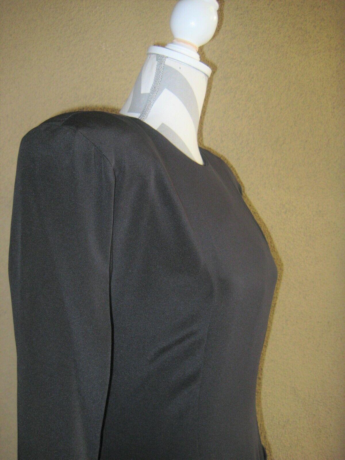 Vintage 1980's Travilla black drop waist LS lined… - image 7