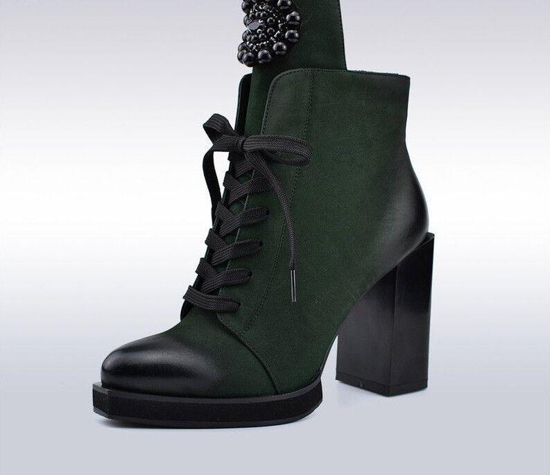 botas al tobillo señoras de metal de las decoraciones Cristal Cuadrado Tacones Altos Zapatos Con Cordones Cremallera Lateral