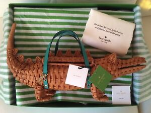 NWT-Kate-Spade-Swamped-3D-Wicker-Alligator-Gator-Collector-Bag-wIth-Gift-Box