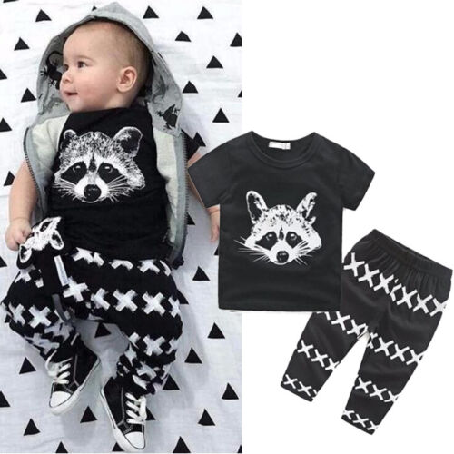 2PCS Toddler Kids Boy T-shirt Tops+Long Pants Trousers Casual Clothes Suit LI0