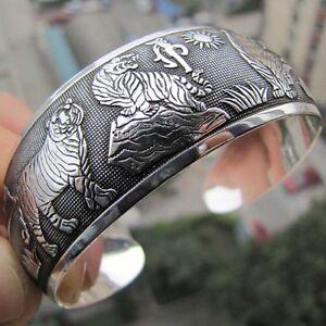 Beauty-Hot-New-Tibetan-Tibet-Silber-Weiss-Tiger-Totem-Armreif-Manschette-ArmbaXUI