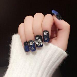 2017 New Black with Blue Glitter French 24pcs Square False Nails Faux Ongle Z399