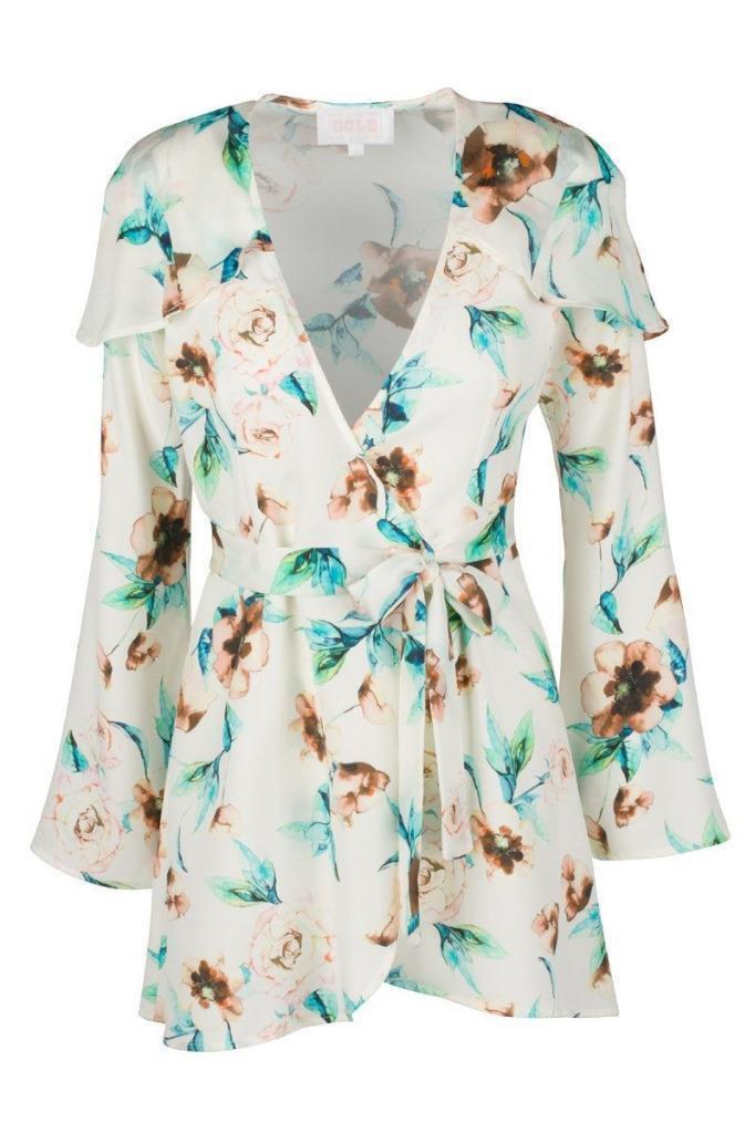 STONE Froid Femme FOX Ivoire Cosmo Soie Floral Giselle Wrap Robe 2 Nouveau  380