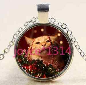 Christmas-cat-Cabochon-Tibetan-silver-Glass-Chain-Pendant-Necklace-XP-2465