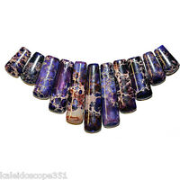 Purple Impression Jasper Graduated Fan Bead Pendant Necklace Set Pendants