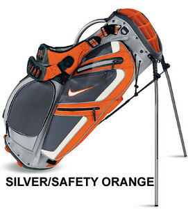 NIKE-PERFORMANCE-CARRY-STAND-BAG-SILVER-SAFETY-ORANGE-NEW