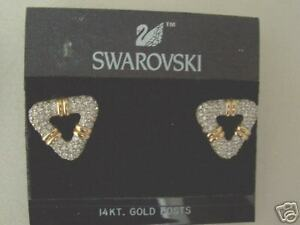 NEW-Swarovski-Gold-amp-Clear-Crystal-Triangle-EARRINGS
