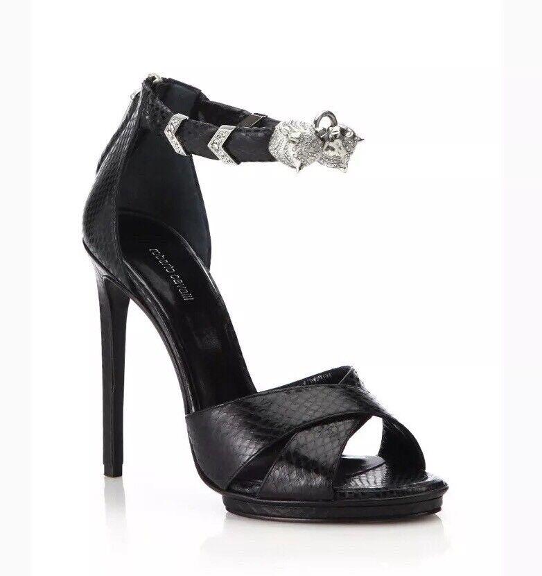 1640 Roberto Cavalli Black Tiger Crystal Ankle Cuff Snakeskin Embosse Sandal 39