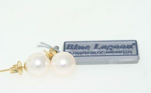 Mikimoto Blue Lagoon 8mm Akoya White Pearl Stud Earrings in 14k Yellow Gold