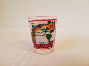 Vintage Hawaii Rainbow Hawaiian islands Shot Glass hibiscus pineapple lanai daku