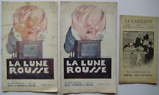 3 PROGRAMMES CAFÉ-THÉÂTRE CHANSONNIER CABARET LA LUNE ROUSSE LE CARILLON 1920-30