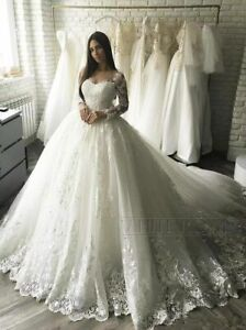 White-Ivory-Bridal-Ball-Gown-Wedding-Dresses-Long-Sleeves-Lace-Applique-Princess