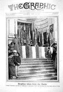 Old-Print-1916-Turkish-Standards-Flags-Erzerum-Russian-Army-Tiflis-Photogr-20th