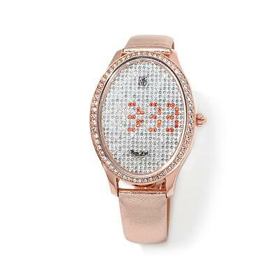 VICTORIA WIECK CRYSTAL LED DIAL ROSETONE METALLIC LEATHER STRAP WATCH $119.90