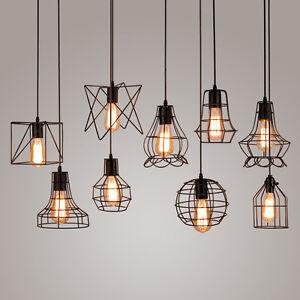 Retro-Vintage-Industriel-Pendentif-Abat-Jour-Plafonnier-Lampe-Chandelier-Light
