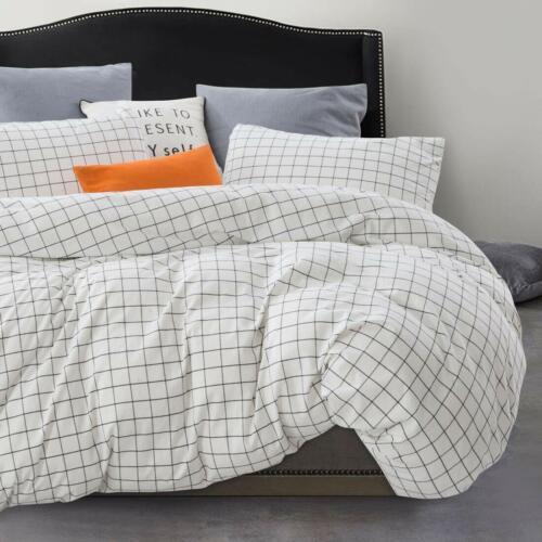 Atsense Duvet Cover Queen 100/% Washed Cotton 3-Piece Bedding Duvet Cover Set,